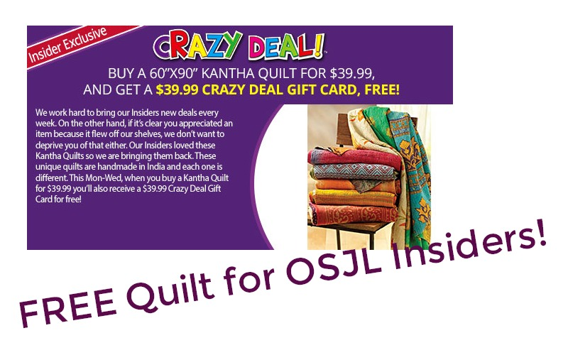 FREE Quilt for Job Lot Insiders~ 2/26-28 Only!