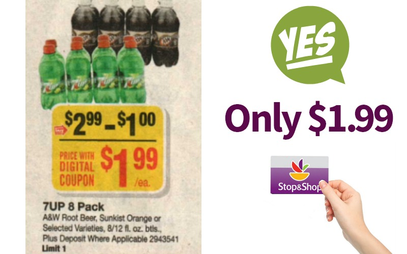 7UP, A&W, or Sunkist 8 Pack Bottles Only $1.99