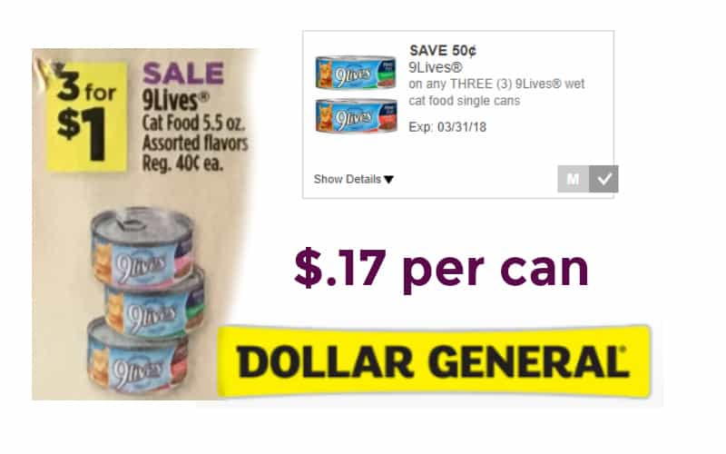 9 Lives Canned Cat Food Only $.17 Per Can!