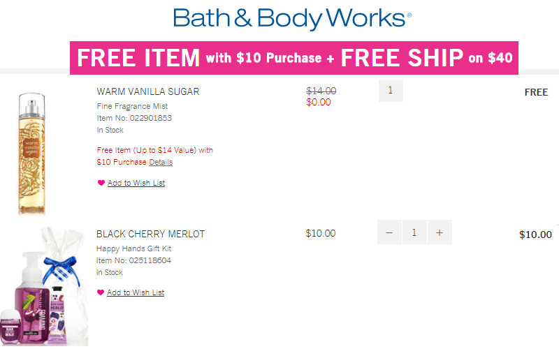 FREE $14 Item with $10 Purchase at Bath & Body Works!