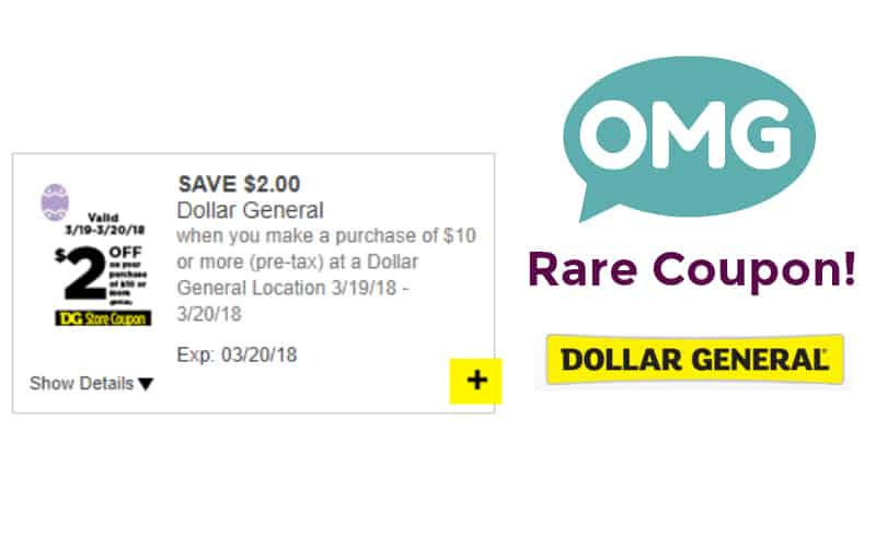 RARE $2 Off $10 Dollar General Purchase Coupon!