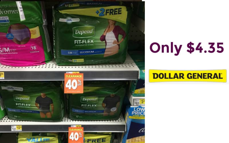 Depends Fit Flex Only $4.35 at Dollar General!