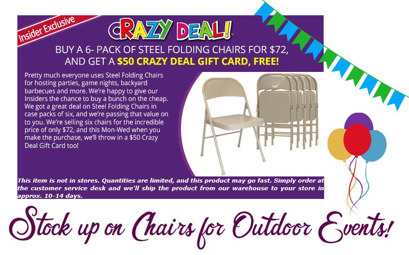 Folding Chairs $3.67~ Stock Up for Shindigs!! (3/19-21)