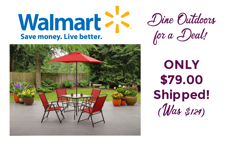 6pc. Outdoor Dining Set ONLY $79 + Ships Free!! (Was/$124)