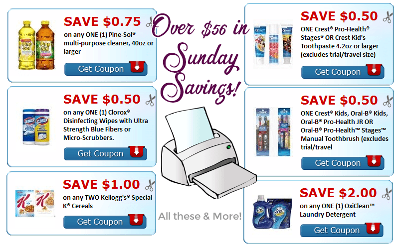 NEW Sunday Savings~ OVER $56 in New Printables!