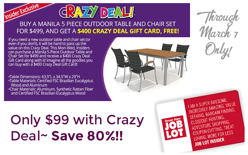 80% OFF 5pc. Outdoor Table/Chair Set, after Crazy Deal!