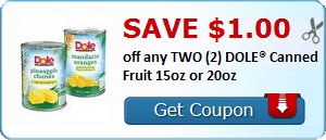 Save $1.00 off any TWO (2) DOLE® Canned Fruit 15oz or 20oz