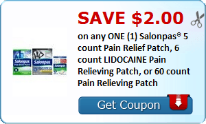 Save $2.00 on any ONE (1) Salonpas® 5 count Pain Relief Patch, 6 count LIDOCAINE Pain Relieving Patch, or 60 count Pain Relieving Patch