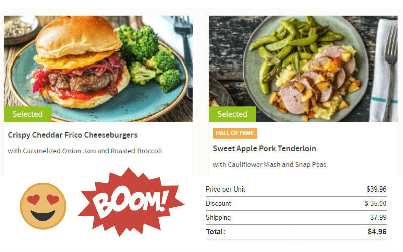 Hello Fresh! Get 2 Meals Delivered to Your Door for Only $4.96!