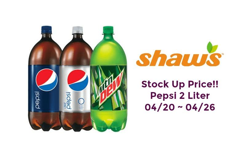 Stock Up Price!! Pepsi 2 Liter at Shaw's 04/20 ~ 04/26!!