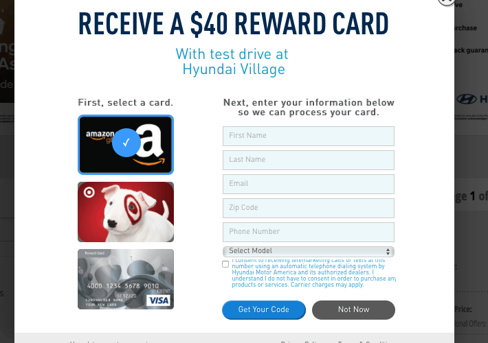 Get A $40.00 Gift Card for Taking a Test Drive