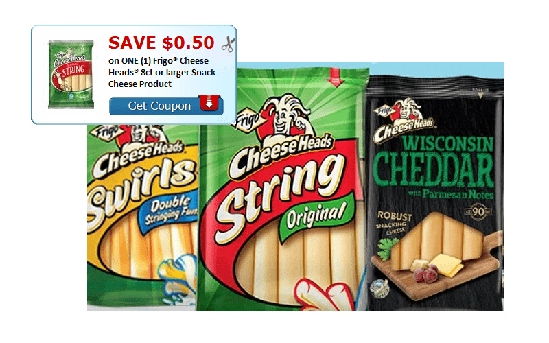 Save $0.50 on (1) Frigo® Cheese Heads® 8ct+ Snack Cheese Product