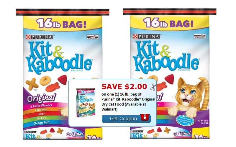 Save $2.00 on (1) 16 lb. bag of Purina® Kit & Kaboodle® Original Dry Cat Food