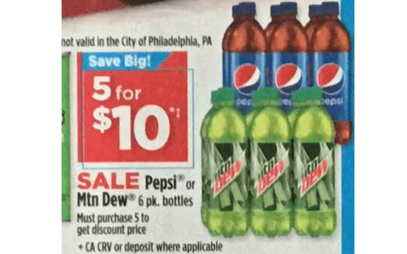 Pepsi or Mt Dew 6 Packs Only $2!
