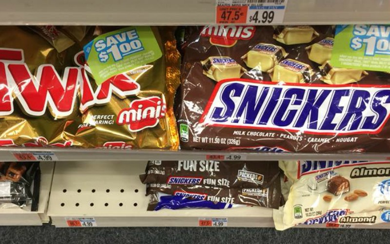 BIG Bag of Twix or Snickers Minis Only $.24!