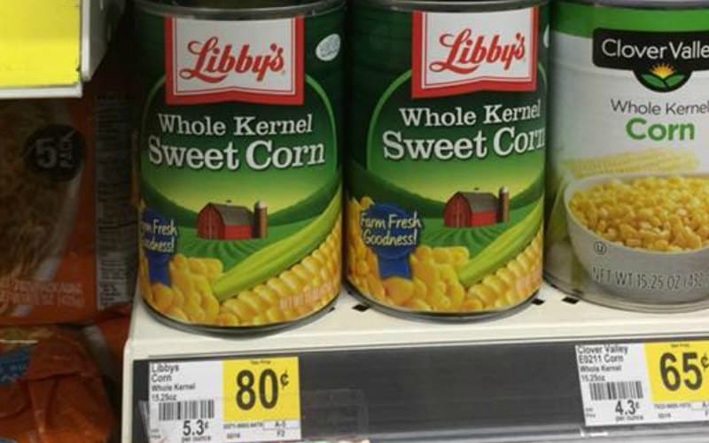 Libby's Whole Kernel Corn or Cut Greens Beans Only $.50!