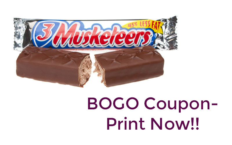 BOGO 3 Musketeers~ Hot coupon, Print now!