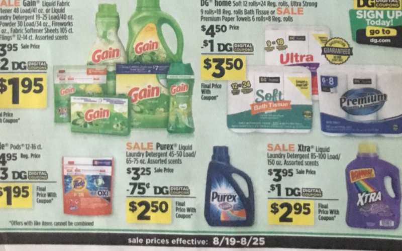 EARLY:  Dollar General Ad Scan  8/19 – 8/25
