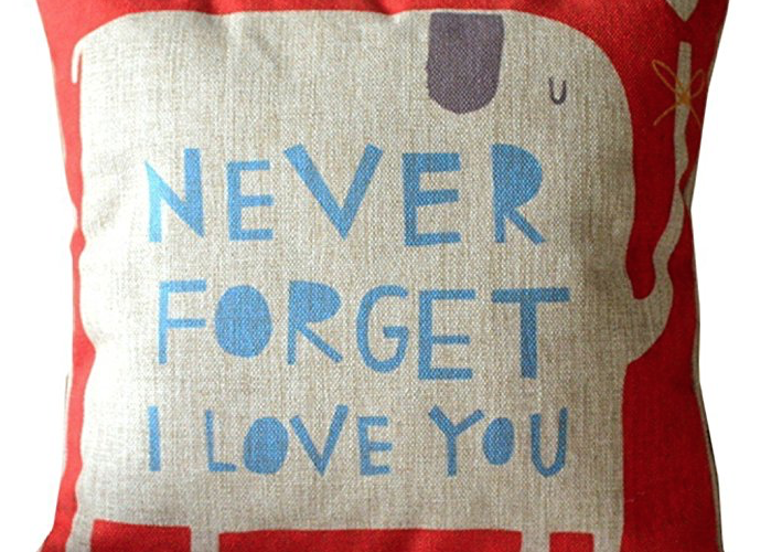 Never Forget I Love You Elephant Pillow