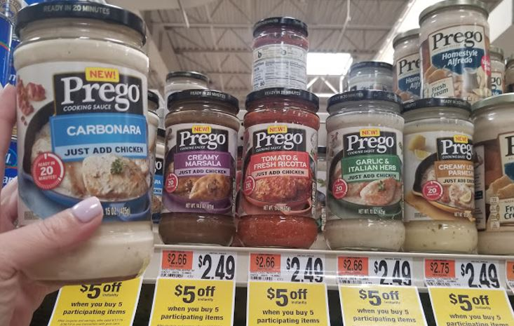 $5/5 Deal:  FREE Prego Cooking Sauces!