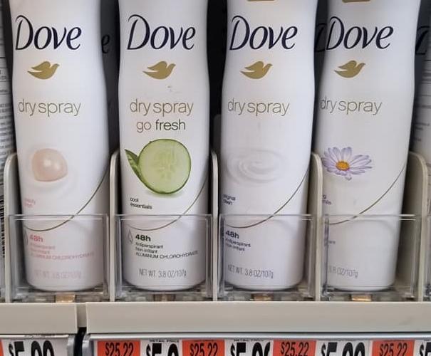 Dove Dry Spray 25 Cents