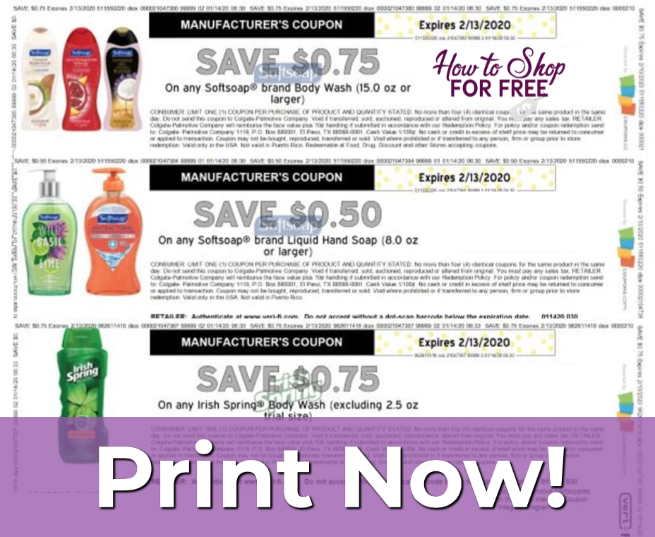 Softsoap And Irish Spring Printable Coupons How To Shop For Free With Kathy Spencer